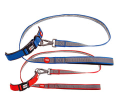 anterro rimo reflective dog lead collar set red blue