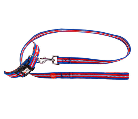 tetton stripy red blue white dog collar and lead set