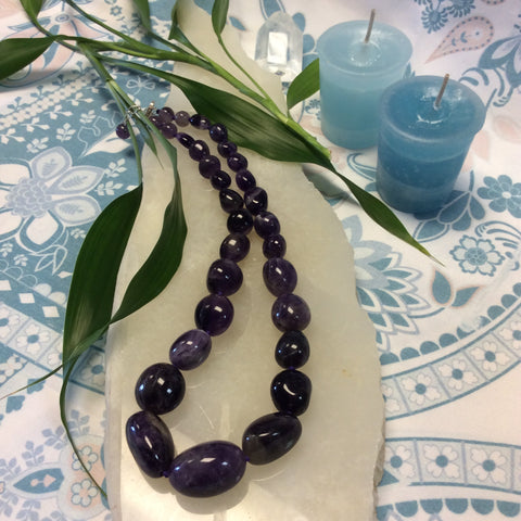 Chunky Amethyst Beaded Necklace - Goddess I AM