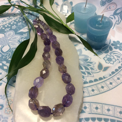 Faceted Amethyst Beaded Necklace - Goddess I AM