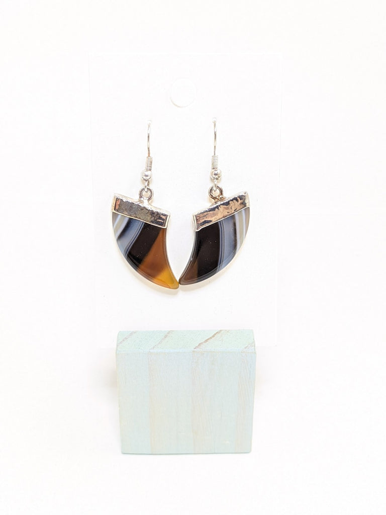 Blue Agate Slice Earrings - Goddess I AM