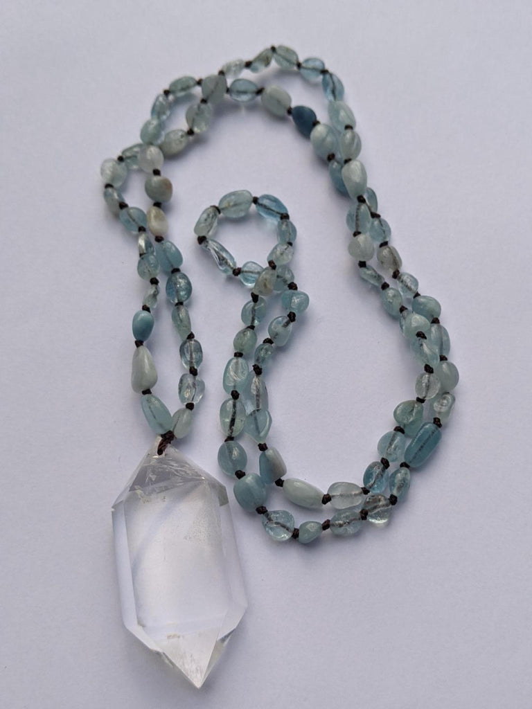 Aquamarine with Double-Terminated Water-Clear Quartz Necklace - Goddess I AM