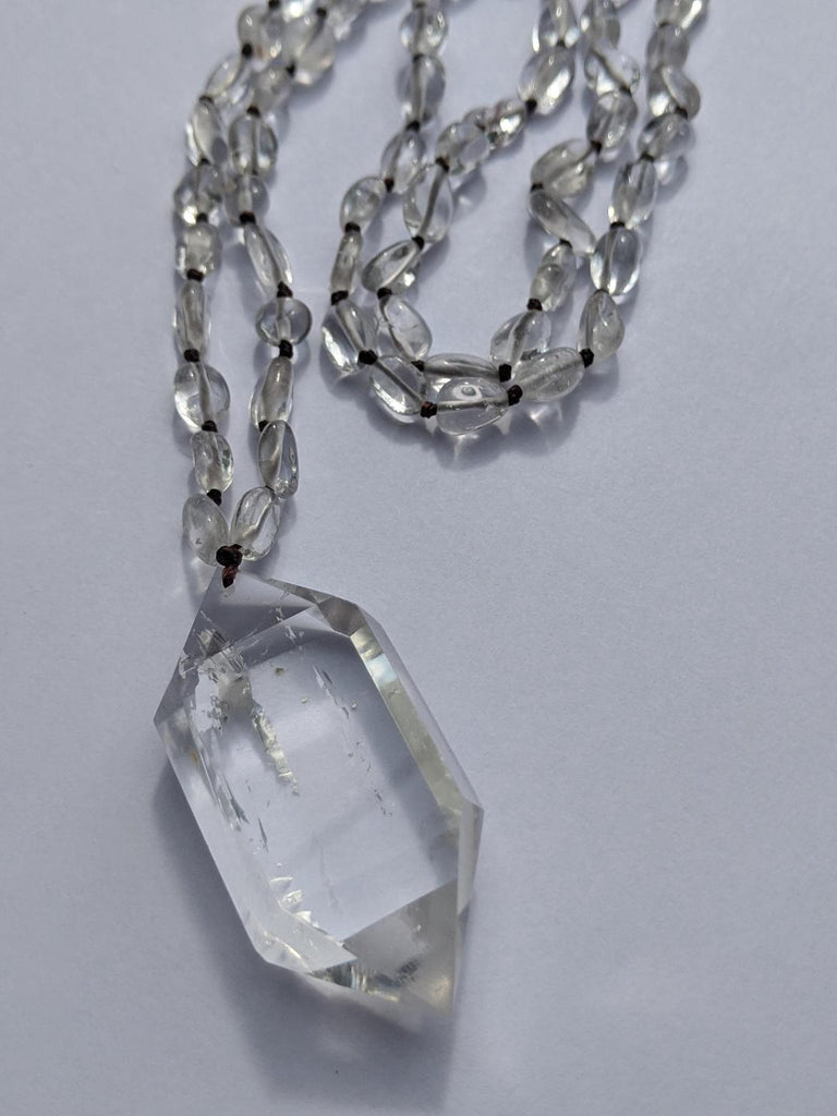 Quartz with Water-Clear Double-Terminated Quartz Necklace - Goddess I AM