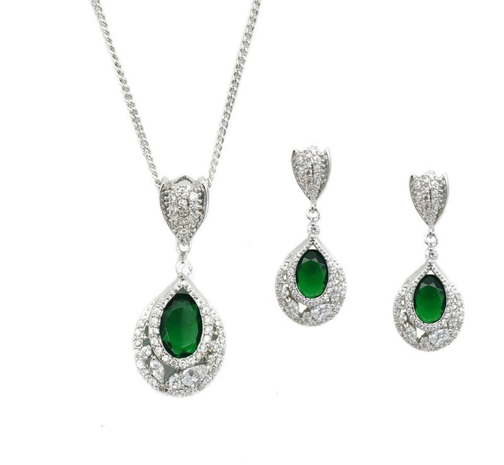 Emerald Necklace and Earrings Set - Navya