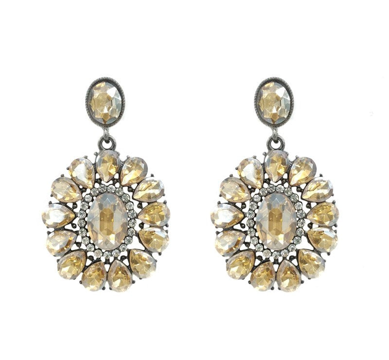 Sparking Champagne Crystal Statement Earrings - Navya