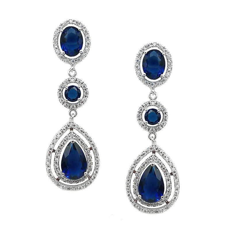Victoria Royal Blue Crystal Earrings - Navya