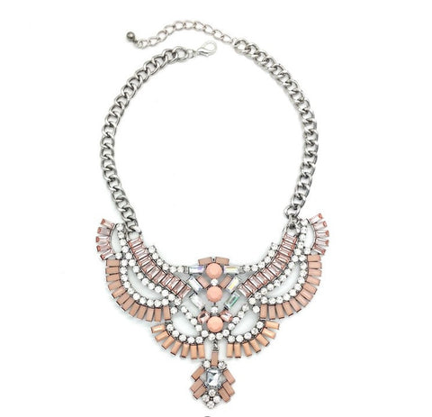 Shine White and Pink Statement Necklace - Navya