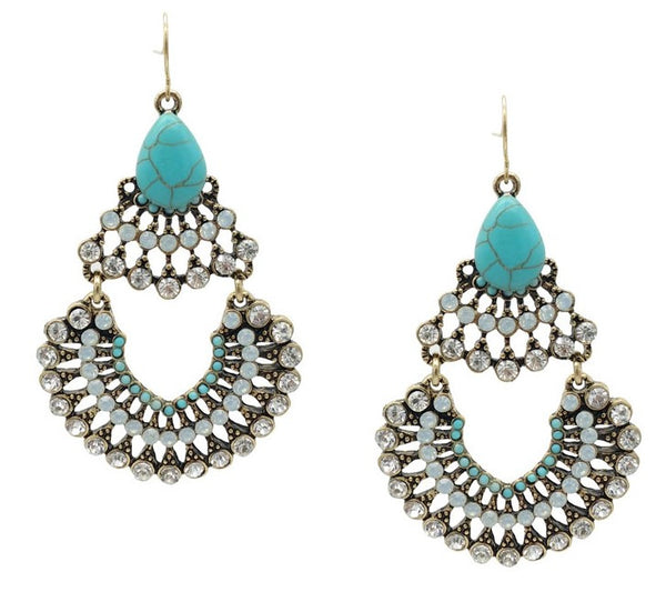 Aurora Crystal Statement Earrings - Navya