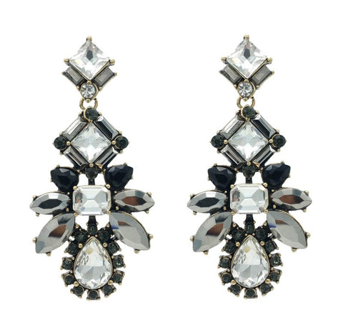 Glittering Crystal and Black Statement Earrings - Navya