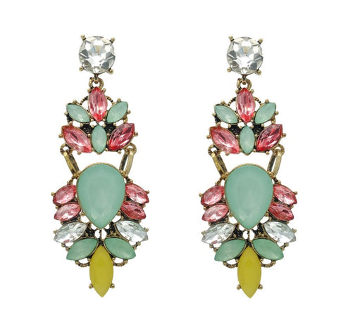 Shiny Pink and Blue Statement Earrings - Navya
