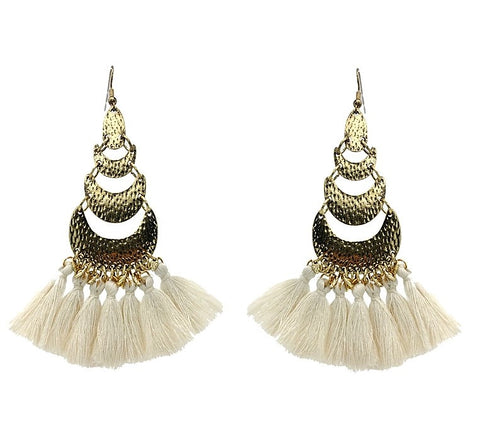 Modern Boho  White Tassel Earrings - Navya