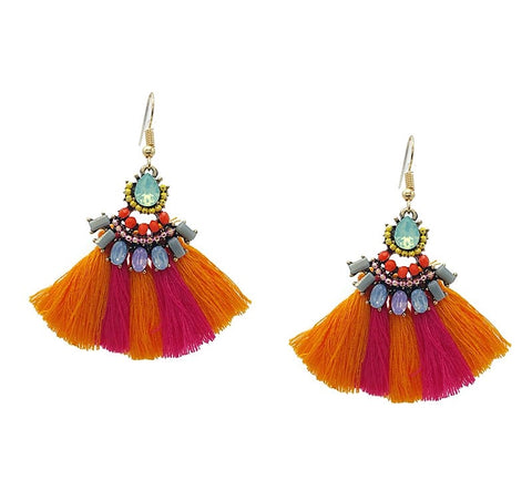 Orange and Fuchsia Tassel Statement Earrings - Navya