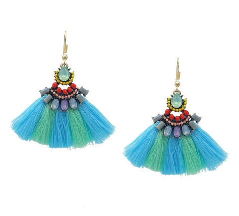 Blue and Mint Tassel Statement Earrings - Navya