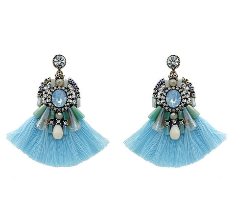 Turquoise Tassel Earrings - Navya