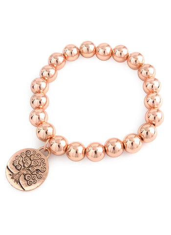 Tree of Life Charm Rose Gold Bracelet