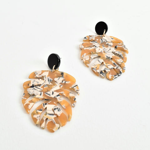 Monstera Resin Statement Earrings - Navya