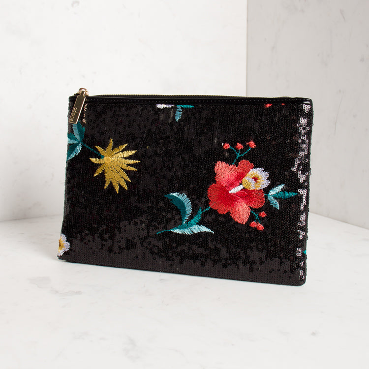 Embroidered Flower Sequin Clutch - Black - Navya