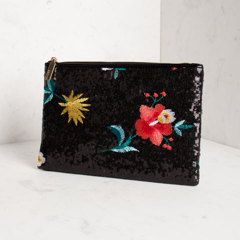 Embroidered Flower Sequin Clutch - Black