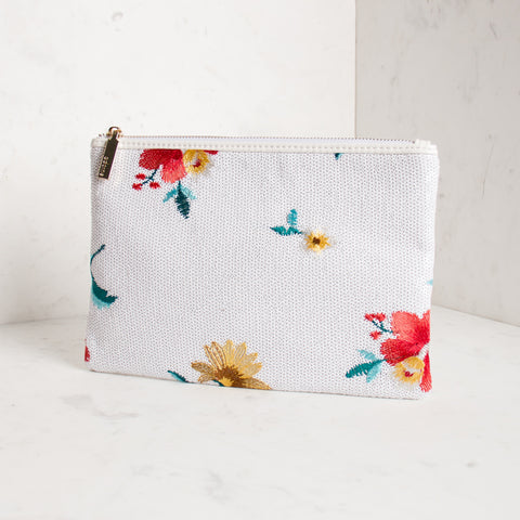 Embroidered Flower Sequin Clutch - White