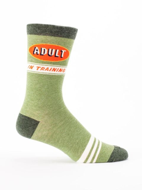 Men's Crew Socks - Adult In Training - Blue Q - Navya