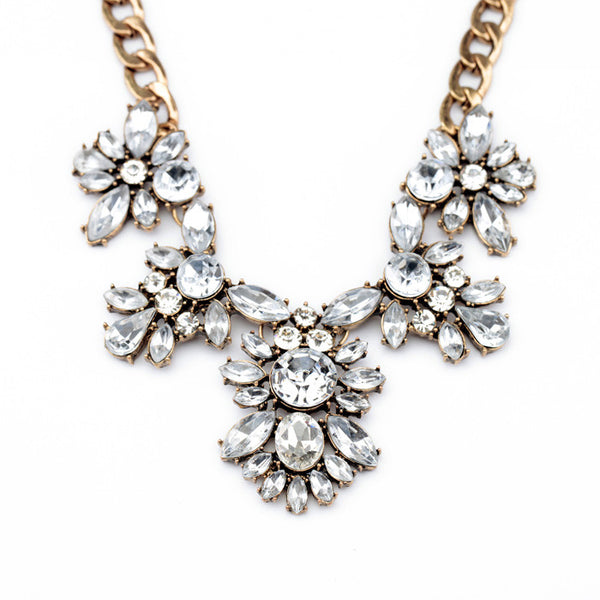 Andrea Floral Bib Crystal Statement Necklace half view