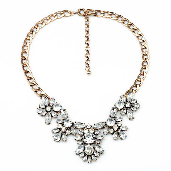 Andrea Floral Bib Crystal Statement Necklace - Navya
