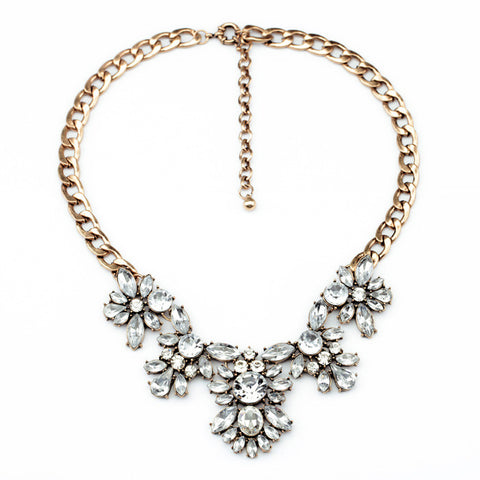Andrea Floral Bib Crystal Statement Necklace Full view