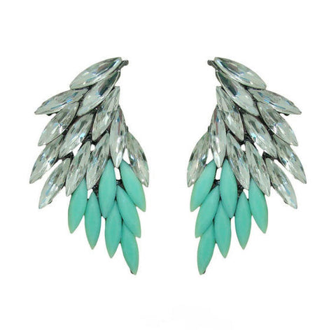 Angel Wing Aqua Crystal Statement Earrings - Navya