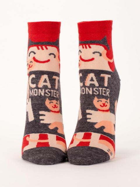 Women's Ankle Socks - Cat Monster - Blue Q - Navya