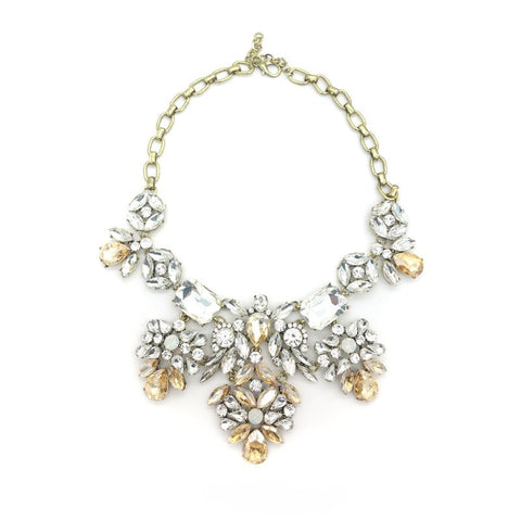 Champagne Floral Statement Necklace - Navya