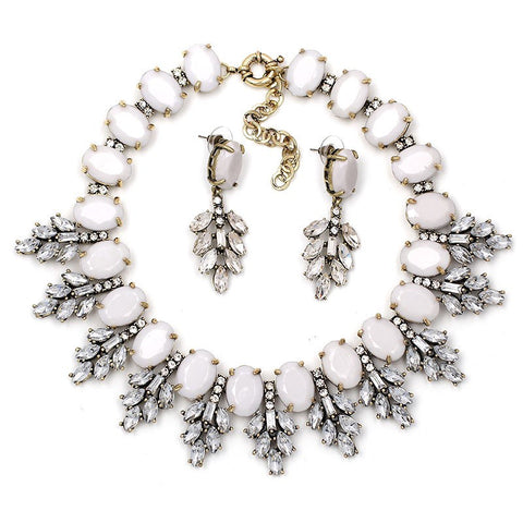 Crystal Leaves Gray Statement Necklace Set - Navya