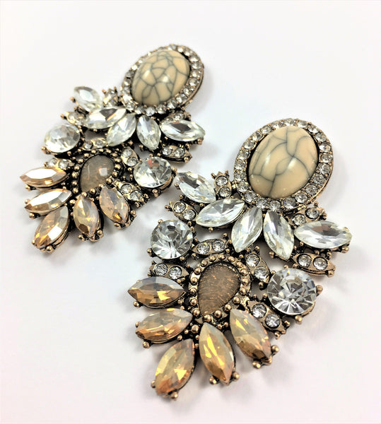 Crystal Water Drop Statement Earrings - Navya