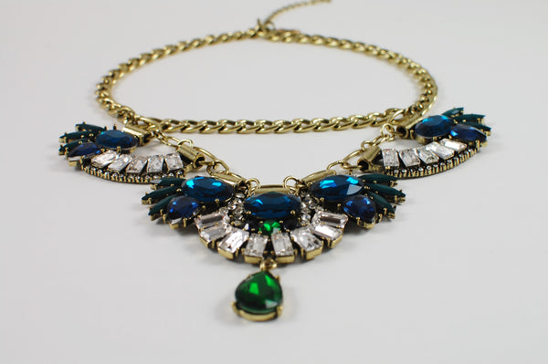 Blue-Green Stone Antique Statement Necklace - Navya