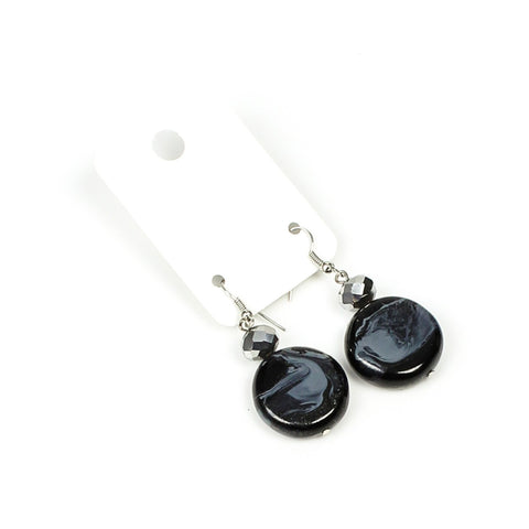 Black Damask Papaya Button Earring - Navya