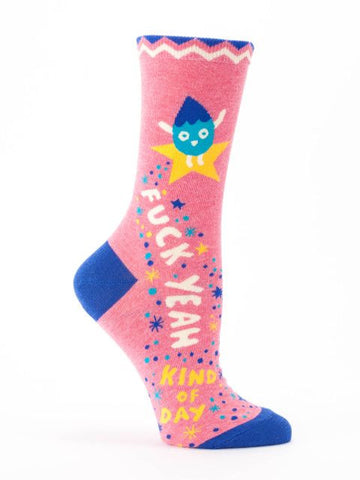 Women's Crew Socks - F**** Yeah Kind of Day - Blue Q