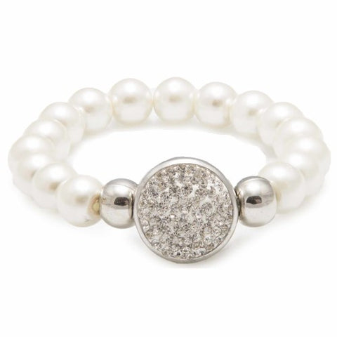 White Pearl Bracelet with Diamante Elements - Navya