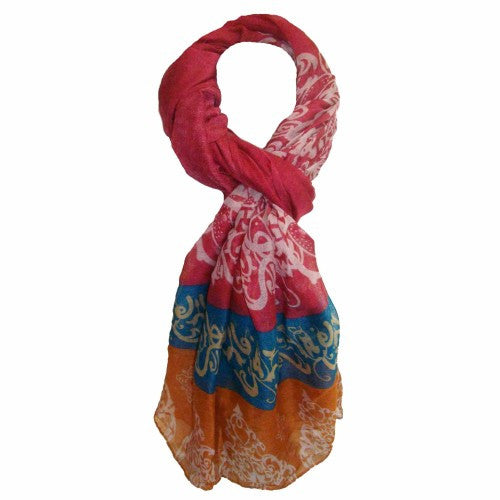 Summer Day Light Scarf - Pink,Blue and Orange Cotton Scarf - Navya