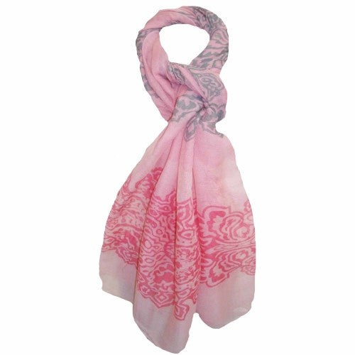 Summer Day Light Scarf - Pink and Grey Cotton Scarf - Navya