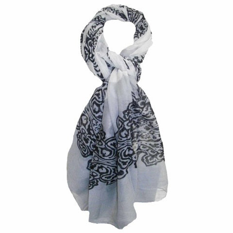 Summer Day Light Scarf - Black, Grey and White Cotton Scarf - Navya