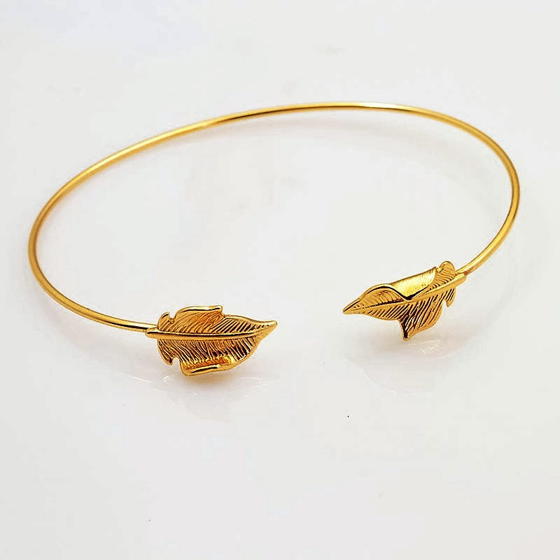 Golden Leaf Cuff Bangle - Navya
