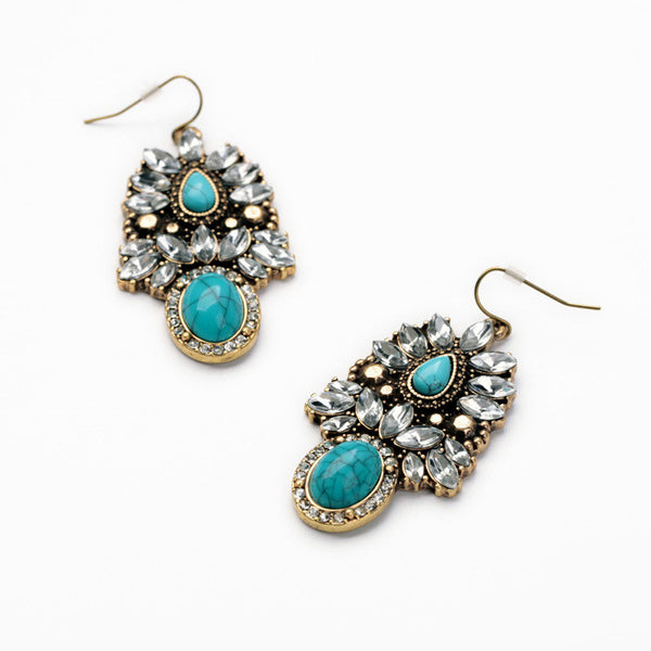 Turquoise Cluster Mixed Stone Statement Earring