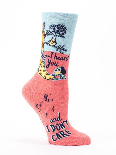 Women's Crew Socks - I Heard You and I Don't Care  - Blue Q