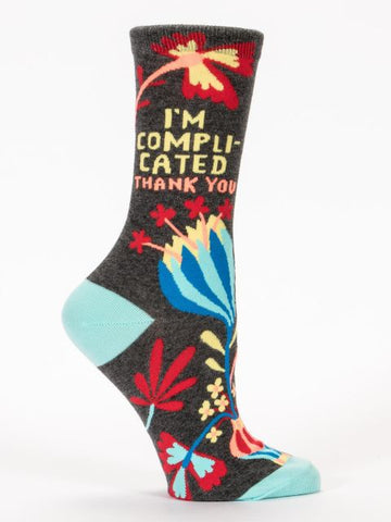 Women's Crew Socks - I am Complicated Thank You - BlueQ - Navya