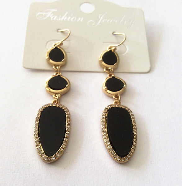 Black Stone Drop Earrings with Diamante Elements - Navya