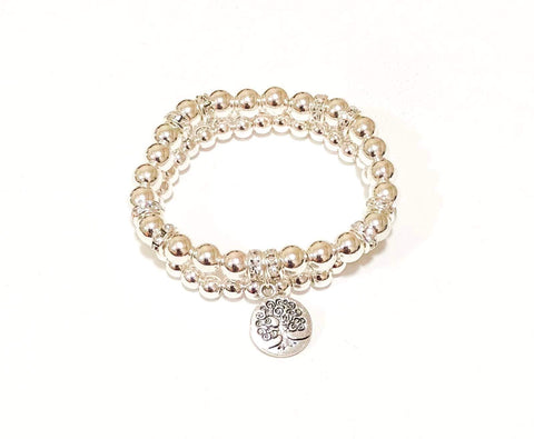 Tree of Life Charm Double Silver Bracelet