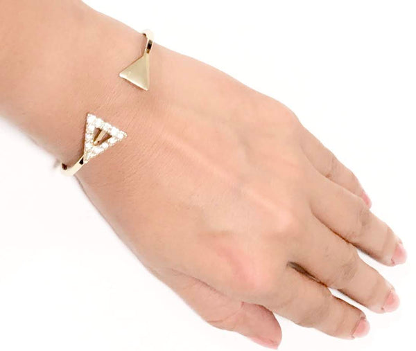 Gold Triangle Ended Cuff Bracelet - Navya