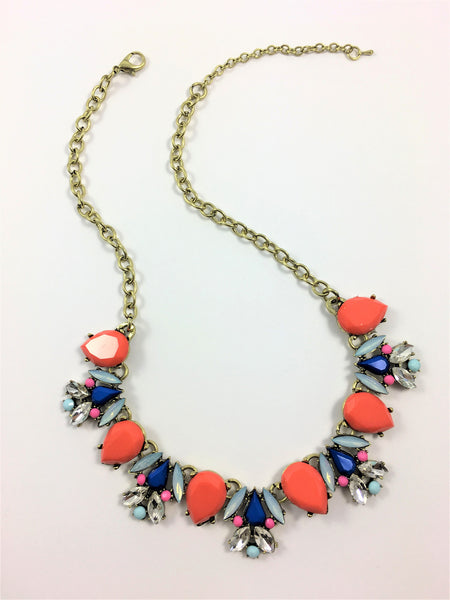 Statement Necklace Anastasia Orange and Blue full view