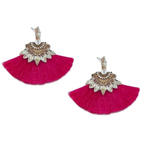 Fuchsia Clear Crystal Tassel Earrings - Navya