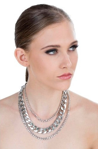 Necklace - Heavy Metal Silver Necklace - Navya