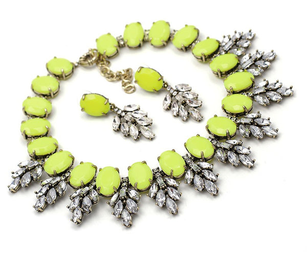 Crystal Leaves Yellow Statement Necklace Set - Navya